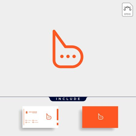 Letter B Chat Talk Logo Template Vector Design Message Icon Ilustração