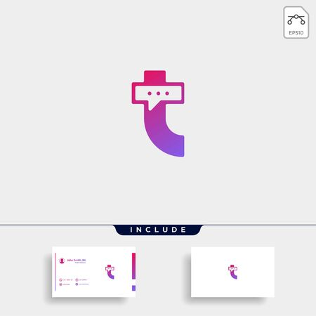 Letter T Chat Talk Logo Template Vector Design Message Icon
