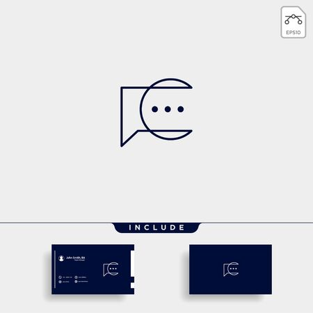 Letter C Chat Talk Logo Template Vector Design Message Icon Çizim