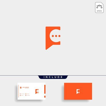 Letter C Chat Talk Logo Template Vector Design Message Icon Stok Fotoğraf - 133783264