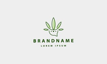 cannabis chat talk logo vector icon illustration 向量圖像