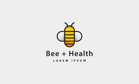 bee health icon simple logo vector design 向量圖像
