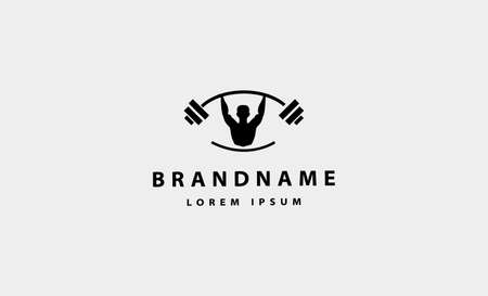 Man bodybuild fitness logo design vector