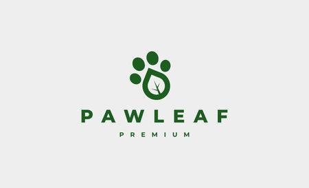 paw leaf foot print logo Design Vector illustration