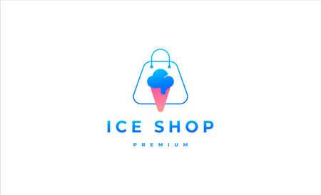ice cream shop logo design vector illustration