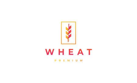 Wheat Logo Minimal Design Vector Illustration