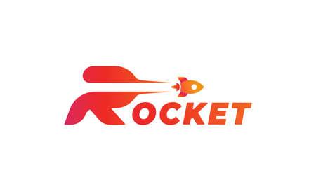 Rocket Launch R Type logo Vector design illustration Ilustração