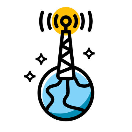 wireless tower on earth vector icon design