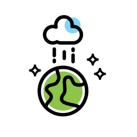 Cloud Rain on earth vector icon design