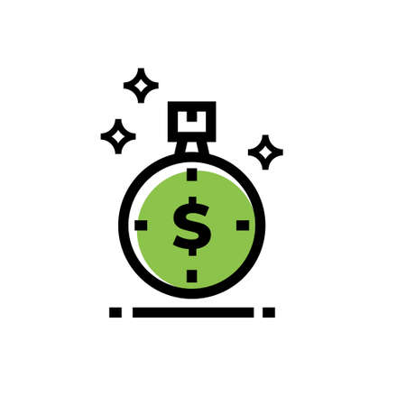 time and dollar currency vector icon