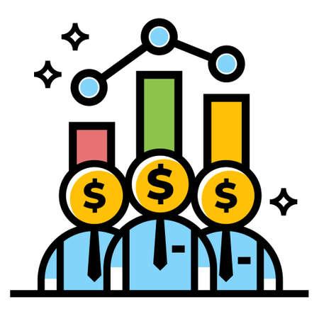 business team work dollar vector icon design