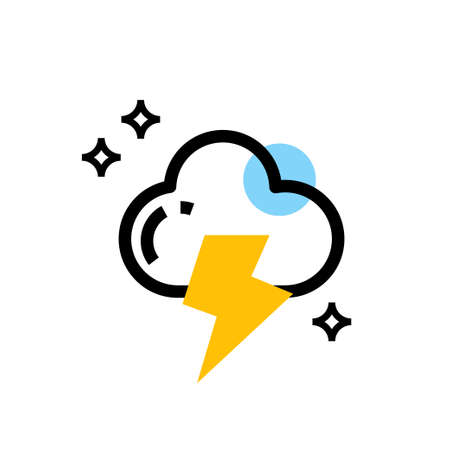 cloud and thunder vector icon design Ilustração
