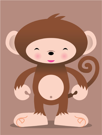 simple logo: cute monkey vector manga illustration Illustration