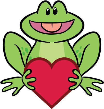 sapo principe: cute rana con valentine coraz�n ilustraci�n vectorial