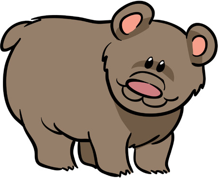 cute grizzly bear vector illustration Çizim
