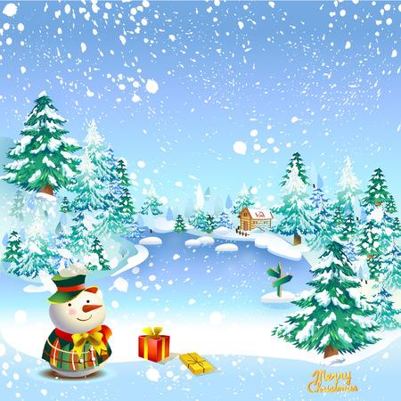 muñeco de nieve tarjeta de felicitación de Navidad de la vendimia