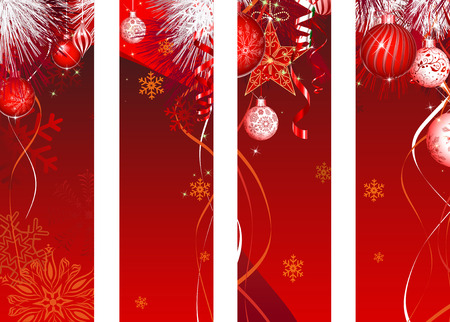 Vertical Christmas Banner Red Decoration