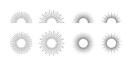 Sunburst set. Retro sun. Sunburst icon collection vector.Retro sunburst design.Big collection sunburst best quality. Speed trail. retro speed trail. Burs.Sunrise rays light burst line shine sunshine s