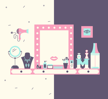 dressing room: Vector concept of makeup table and dressing room. Modern flat design and trendy colors.