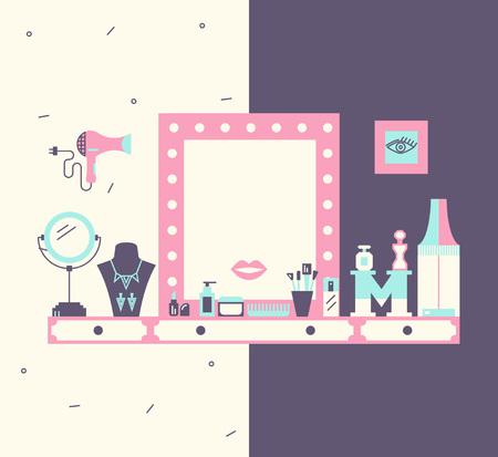 Vector concept van de make-up tafel en een kleedkamer. Modern plat design en trendy kleuren. Stock Illustratie