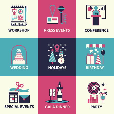organization: 얇은 라인과 이벤트 및 특별 행사의 조직, 음식 서비스 기관, 마케팅 기관의 평면 아이콘. 플랫 디자인 그래픽 이벤트 마케팅 개념, 웹 사이트 요소입니다. 일러스트