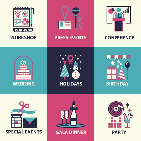 Dunne lijn en vlakke pictogrammen van evenementen en speciale gelegenheden organisatie, catering service bureau, marketing bureau. Platte design grafisch event marketing concept, website elementen. Stock Illustratie