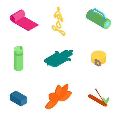 Colorful isometric Yoga icons and badges for spa center or yoga studio on white background.