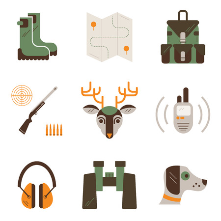 elk point: set of deer hunt symbols. Hunting, shooting gear icons. Unique and modern flat set isolated on white background.