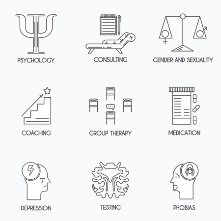 group therapy: Set of 8 psychology and psychotherapy icons. Thin line design.