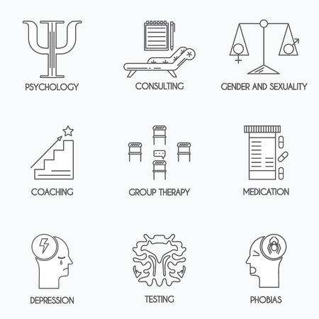Set van 8 psychologie en psychotherapie iconen. Dunne lijn ontwerp.