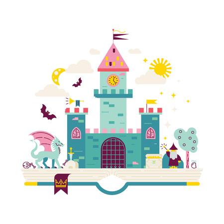 魔法の王国の高詳細なイラスト。モダンなフラット デザイン。ウィザード、ドラゴンと本のページに城。子供の教育のための図。