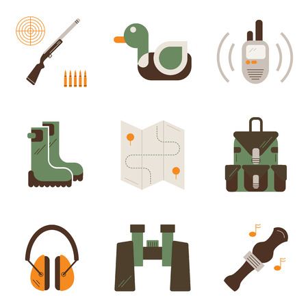 hunting: Hunting, shooting gear icons. Unique and modern flat set isolated on white background. Illustration