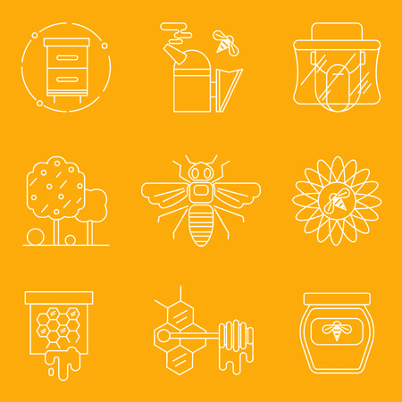 apiarist: Thin line flat icons of modern beekeeping and harvesting honey. Modern flat line design elements.