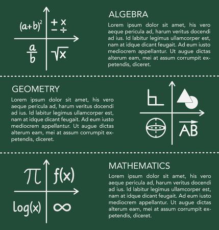 Math elements and design. Chalk board design.
