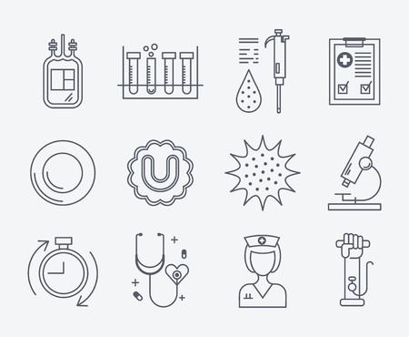 recipient: Modern thin line design. Perfect symbols of blood donation process - cells, bag, hand.
