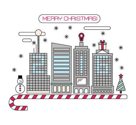 christmas in the city: Vector concept Christmas city isolated on white background. New Year 2016. Thin line flat design.