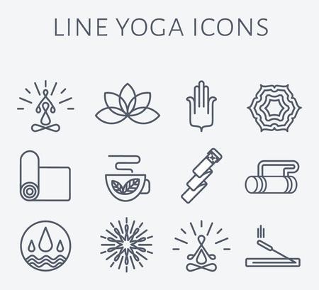 dessin fleur: Ensemble d'icônes de yoga et des badges dans un style moderne et propre linéaire.