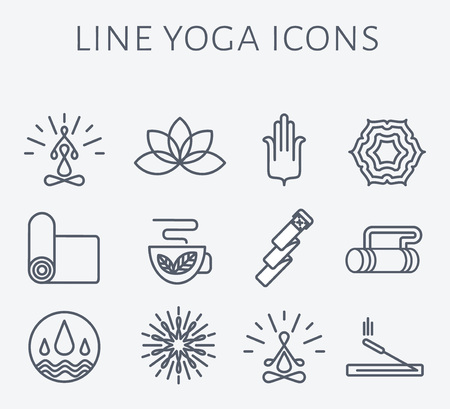 graphic drawing: Set of yoga icons and badges in modern and clean linear style. Illustration
