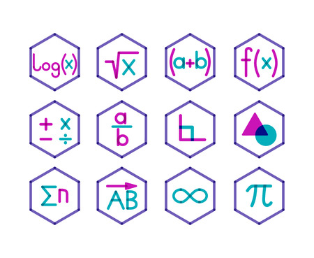 logarithm: Trendy transparent style. Different direction of math. Illustration