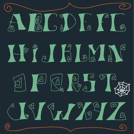 gnarled: Hand drawn spooky font for Halloween invitations, banners and etc. Illustration