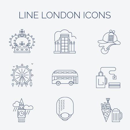 gherkin building: Main London landmarks in trendy linear style.