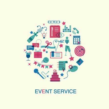 얇은 라인과 이벤트 및 특별 행사의 조직, 음식 서비스 기관, 마케팅 기관의 평면 아이콘. 웹 사이트 요소입니다.