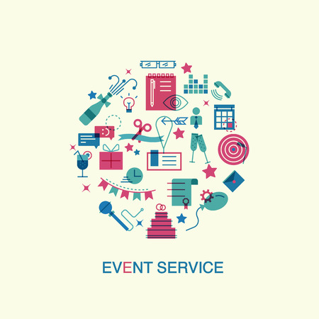 Dunne lijn en vlakke pictogrammen van evenementen en speciale gelegenheden organisatie, catering service bureau, marketing bureau. website elementen.