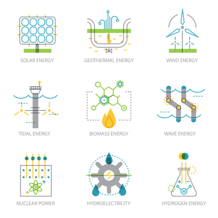 Eco friendly power plants. Ecology infographic elements