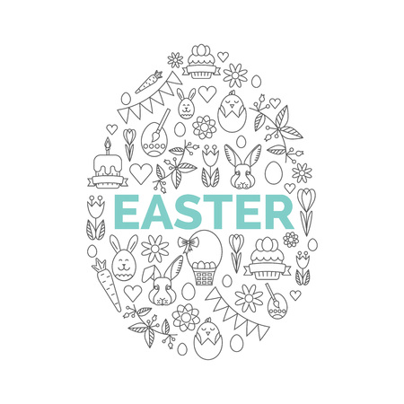 Icônes de Pâques sur fond blanc. Facile à modifier illustration. Egg Hunt Invitation de fête.