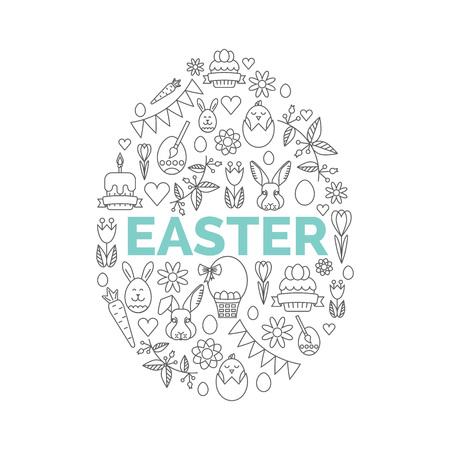 pascuas navide�as: Iconos de Pascua sobre fondo blanco. F�cil de editar ilustraci�n. Caza del huevo invitaci�n del partido.