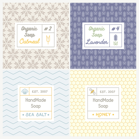 Linear design templates for most popular soap recipes: milk and honey, oat, lavender and sea salt. With their symbols: shell, bee, wheat and ear.