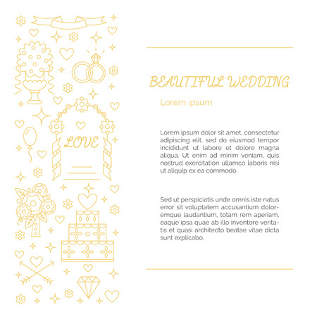 florist: Wedding concept - lots of symbols isolated on background with place or your text. For blog, web, florist, photographer or other wedding business. Illustration