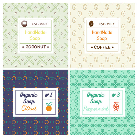 Linear design templates for most popular soap recipes: coconut milk, peppermint, citrus and coffee. With their symbols: fruit, nut, candy, bean.