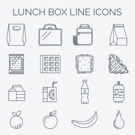 Trendy linear style. Icons and emblems related to lunch time, school and office food. Vettoriali